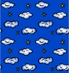 Drawn seamless pattern with clouds and stars vector image vector image