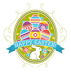 Easter label with color eggs rabbit and flowers vector