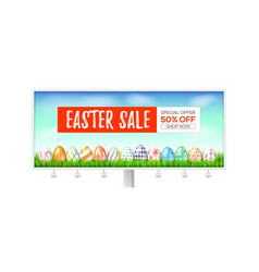 Easter sale billboard with holiday offer vector