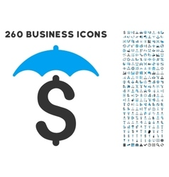 Financial Roof Icon with Flat Set vector