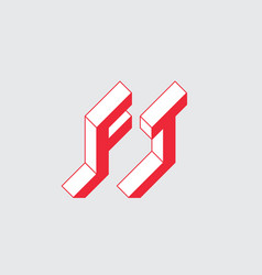 ft - 2-letter code f and t - monogram or logotype vector image