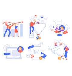 Funnel sales generation customers attraction vector