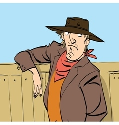Funny cowboy on a ranch vector