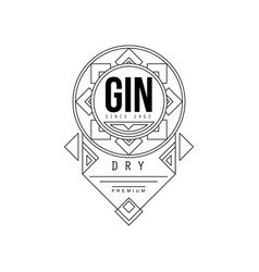 gin vintage label design alcohol industry vector image