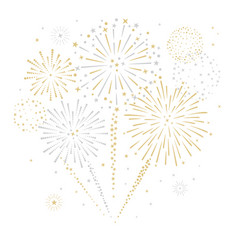 Gold and silver fireworks display vector