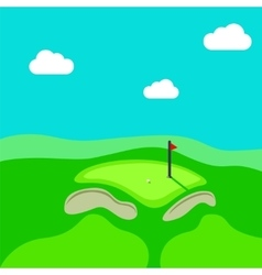 Golf hole green tee background vector
