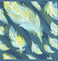green and blue feather pattern vector image