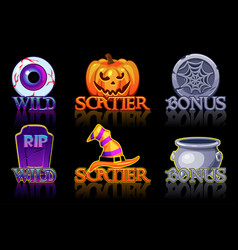 Halloween slots icons wild bonus and scatter vector
