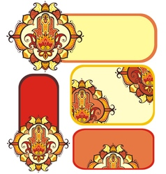 Hamsa hand set with ethnic ornaments vector