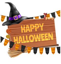 Happy halloween poster witch hat broom vector