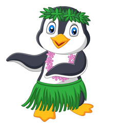 Hawaii hula penguin on white background vector