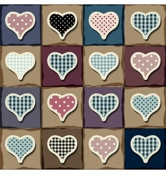 Hearts patchwork pattern vector