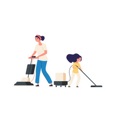 Home cleaning mother and daughter with vacuums vector
