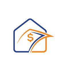 Home logo design with money icon sign and symbol vector