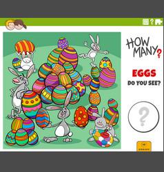 How many easter eggs educational task for kids vector