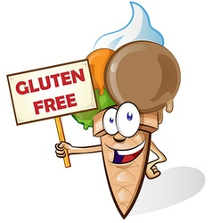 Ice cream cartoon with gluten free signboard vector