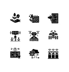 Innovation technology black glyph icons set vector