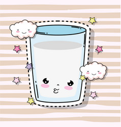 Kawaii cute milk glass with clouds and stars vector