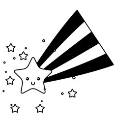 kawaii star and rainbow cartoon vector image