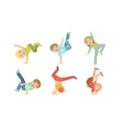 Kids dancing break dance set boys and girls vector