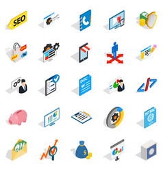 Law icons set isometric style vector