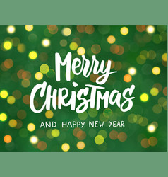 merry christmas and happy new year text hand vector image
