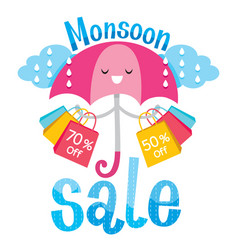 Monsoon sale banner with umbrella and lettering vector