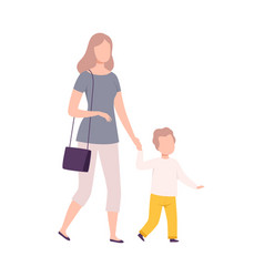 Mother and her son walking holding hands mom and vector