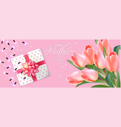 mother day card with tulips bouquet vector image