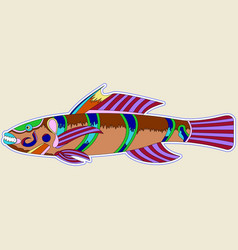 multi-colored monster fish with one big spike vector image