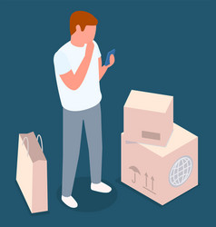 online shopping mail delivery concept a man with vector image