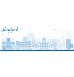 Outline Hartford Skyline with Blue Buildings vector