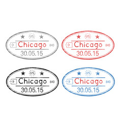 passport oval stamps with date chicago usa vector image