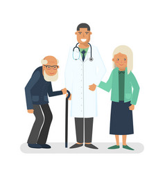 pensioners with doctor vector image