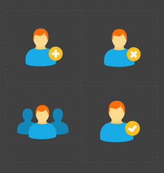 people flat icons set on black vector image