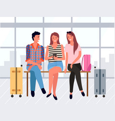 people sitting in departure lounge friends vector image