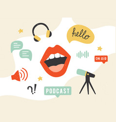 podcast banner collection podcasting symbols vector image