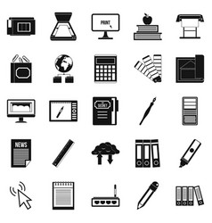 portfolio icons set simple style vector image vector image