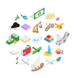 Radio-controlled toy icons set isometric style vector
