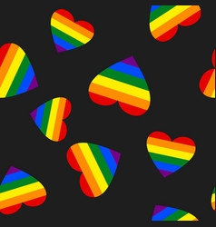 Rainbow pride heart seamless pattern colorful vector