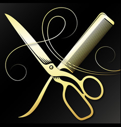 Scissors and comb golden curl hair symbol for a vector
