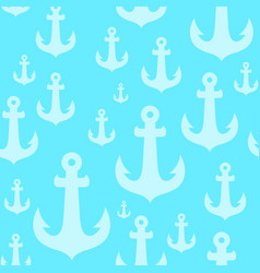 seamless background pattern with anchors on blue vector image