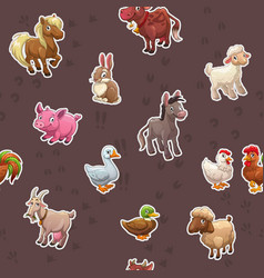 seamless pattern with funny cartoon farm animals vector image
