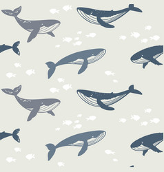 Seamless whales silhouette vector