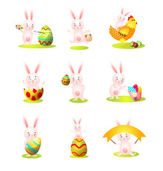 set cute easter rabbit character in different vector image