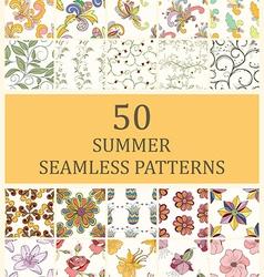 Set of 50 seamless retro vector