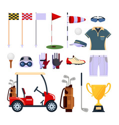 Set of golf equipment icon logo in flat style vector