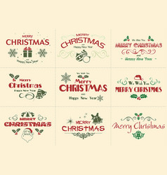 set of merry christmas label vector image
