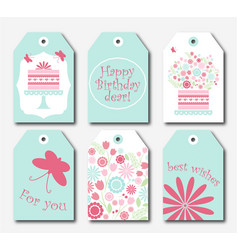 set of six gift tags for packaging vector image