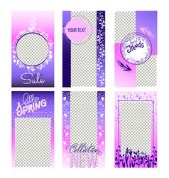 set of spring instagram sale stories template vector image
